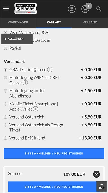 WIEN TICKET | wien-ticket.at | 2015 (Mobile Only 06) © echonet communication GmbH